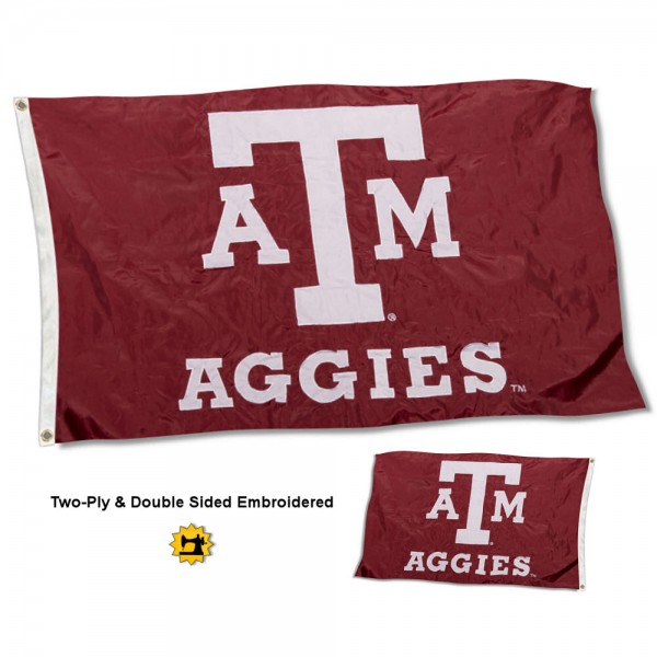 Texas A&M University Aggies Flag measures 3'x5' in size, is made of 2 layer embroidered 100% nylon, has quadruple stitched fly ends for durability, and is viewable and readable correctly on both sides. Our Texas A&M University Aggies Flag is officially licensed by the university, school, and the NCAA