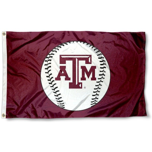 Texas A&M University Baseball Flag measures 3'x5', is made of 100% poly, has quadruple stitched sewing, two metal grommets, and has double sided Team University logos. Our Texas A&M University Baseball Flag is officially licensed by the selected university and the NCAA.