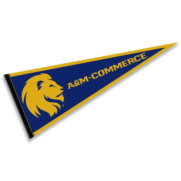 Texas A&M University Commerce Lions Pennant consists of our full size sports pennant which measures 12x30 inches, is constructed of felt, is single sided imprinted, and offers a pennant sleeve for insertion of a pennant stick, if desired. This Texas A&M University Commerce Lions Pennant Decorations is Officially Licensed by the selected university and the NCAA.