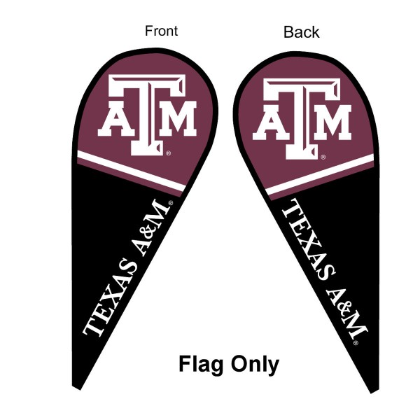 Texas A&M University Feather Flag is 9 feet by 3 feet and is a tall 10' when fully assembled. The feather flag is made of thick polyester and is readable and viewable on both sides. The screen printed Texas A&M Aggies double sided logos are NCAA Officially Licensed and is Team and University approved.