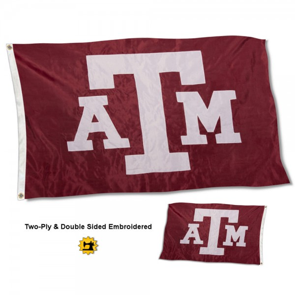 Texas A&M University Flag measures 3'x5' in size, is made of 2 layer embroidered 100% nylon, has quadruple stitched fly ends for durability, and is viewable and readable correctly on both sides. Our Texas A&M University Flag is officially licensed by the university, school, and the NCAA