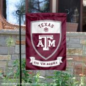 Texas A&M University Gig Em Aggies Shield Garden Flag