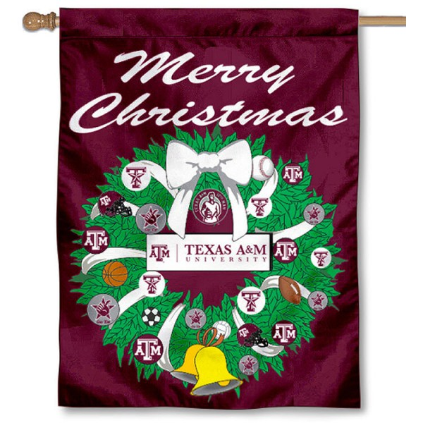 Texas A&M University Holiday Flag is a decorative house flag, 30x40 inches, made of 100% polyester, Holiday NCAA team insignias, and has a top pole sleeve to hang vertically. Our Texas A&M University Holiday Flag is officially licensed by the selected university and the NCAA.