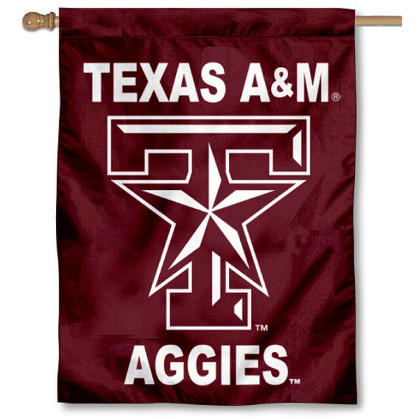 Texas A&M University House Flag is a vertical house flag which measures 30x40 inches, is made of 2 ply 100% polyester, offers dye sublimated NCAA team insignias, and has a top pole sleeve to hang vertically. Our Texas A&M University House Flag is officially licensed by the selected university and the NCAA