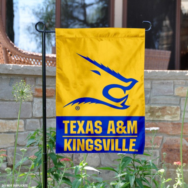 Texas A&M University Kingsville Garden Flag is 13x18 inches in size, is made of 2-layer polyester, screen printed university athletic logos and lettering, and is readable and viewable correctly on both sides. Available same day shipping, our Texas A&M University Kingsville Garden Flag is officially licensed and approved by the university and the NCAA.