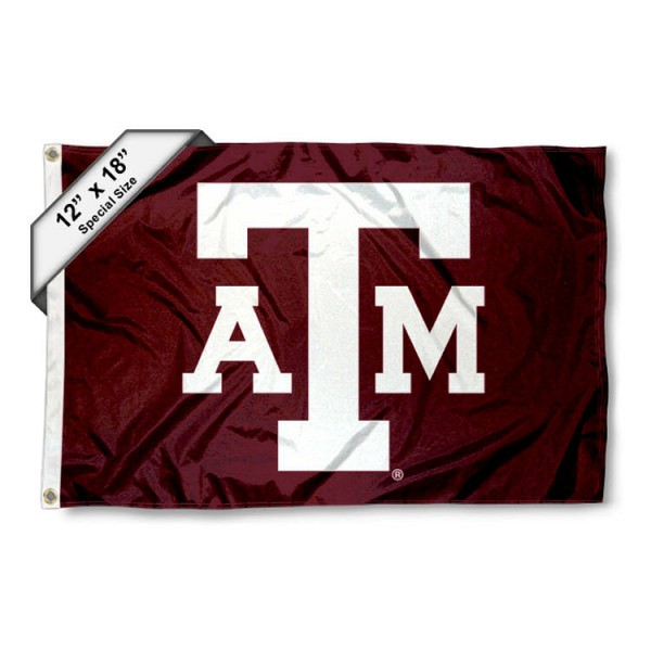 Texas A&M University Mini Flag is 12x18 inches, polyester, offers quadruple stitched flyends for durability, has two metal grommets, and is double sided. Our mini flags for Texas A&M University are licensed by the university and NCAA and can be used as a boat flag, motorcycle flag, golf cart flag, or ATV flag
