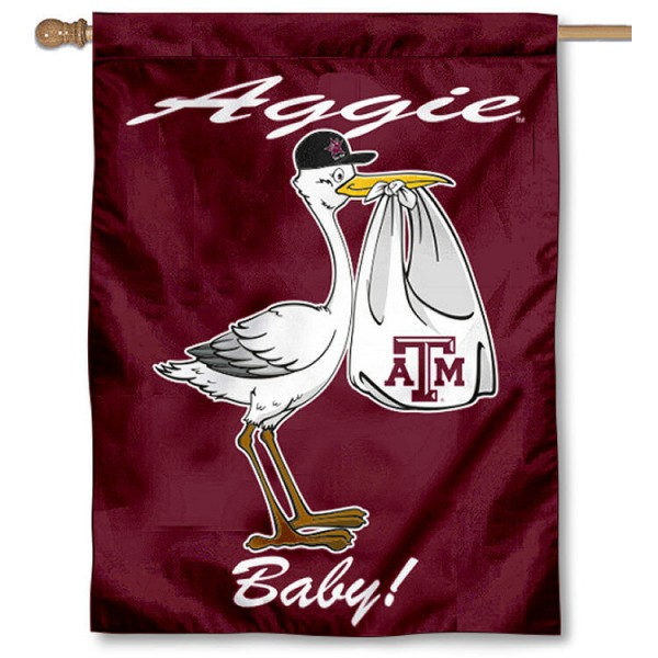 Texas A&M University New Baby Flag measures 30x40 inches, is made of poly, has a top hanging sleeve, and offers dye sublimated Aggies logos. This Decorative Texas A&M University New Baby House Flag is officially licensed by the NCAA.