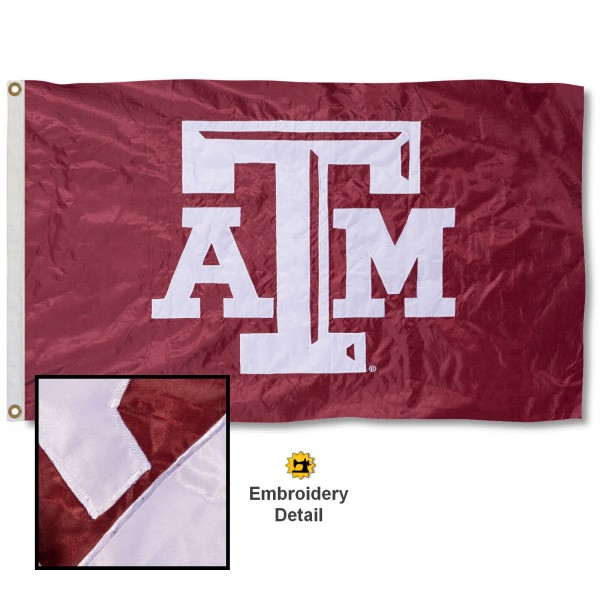 Texas A&M University Nylon Embroidered Flag measures 3'x5', is made of 100% nylon, has quadruple flyends, two metal grommets, and has double sided appliqued and embroidered University logos. These Texas A&M University 3x5 Flags are officially licensed by the selected university and the NCAA.
