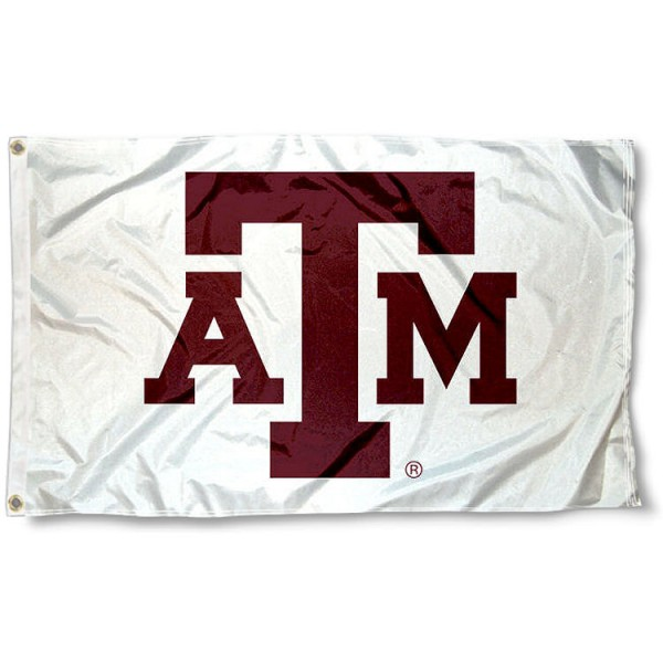 Texas A&M White 3x5 Foot Flag measures 3'x5', is made of 100% poly, has quadruple stitched sewing, two metal grommets, and has double sided Texas A&M University logos. Our Texas A&M White 3x5 Foot Flag is officially licensed by the selected university and the NCAA