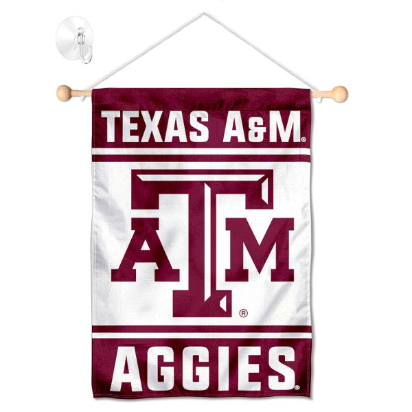 """Texas A&M Window and Wall Banner kit includes our 13""""x18"""" garden banner which is made of 2 ply poly with liner and has screen printed licensed logos. Also, a 17"""" wide banner pole with suction cup is included so your Texas A&M Window and Wall Banner is ready to be displayed with no tools needed for setup. Fast Overnight Shipping is offered and the flag is Officially Licensed and Approved by the selected team."""