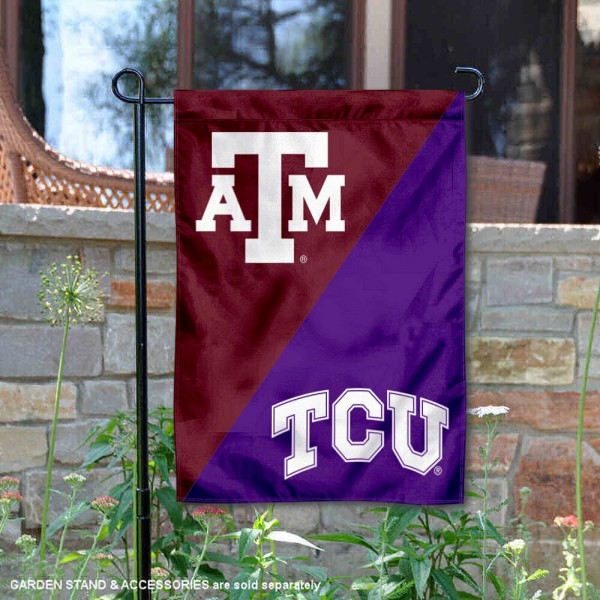 Texas AM vs Texas Christian House Divided Garden Flag is 13x18 inches in size, is made of polyester, is double-sided, and offers screen printed university school logos. The Texas AM vs Texas Christian House Divided Garden Flag is approved by the NCAA and the selected university.