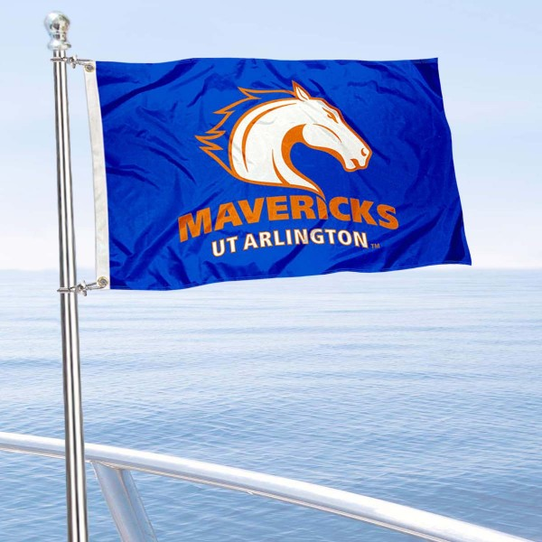 Texas Arlington Mavericks Boat and Mini Flag is 12x18 inches, polyester, offers quadruple stitched flyends for durability, has two metal grommets, and is double sided. Our mini flags for University of Texas at Arlington are licensed by the university and NCAA and can be used as a boat flag, motorcycle flag, golf cart flag, or ATV flag.