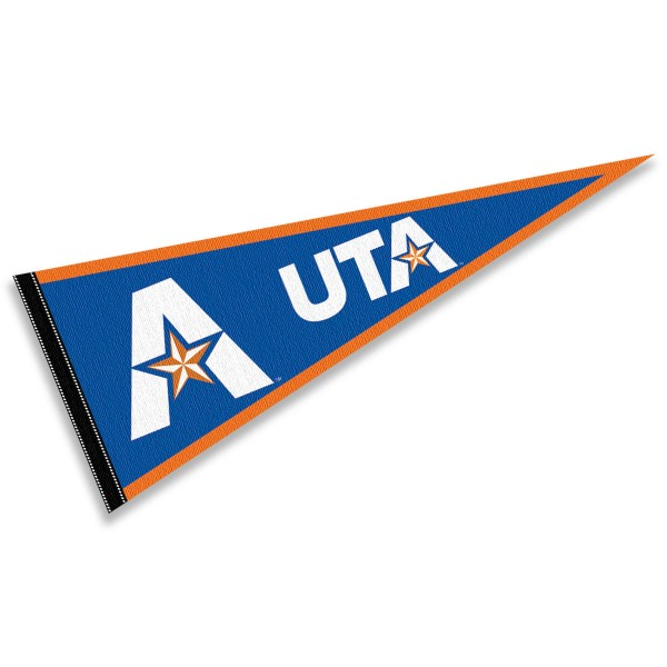 Texas Arlington Mavericks Decorations consists of our full size pennant which measures 12x30 inches, is constructed of felt, is single sided imprinted, and offers a pennant sleeve for insertion of a pennant stick, if desired. This Texas Arlington Mavericks Decorations is officially licensed by the selected university and the NCAA.