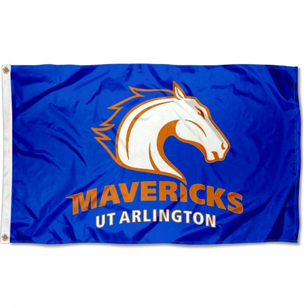 Texas Arlington Mavericks Flag measures 3x5 feet, is made of 100% polyester, offers quadruple stitched flyends, has two metal grommets, and offers screen printed NCAA team logos and insignias. Our Texas Arlington Mavericks Flag is officially licensed by the selected university and NCAA.