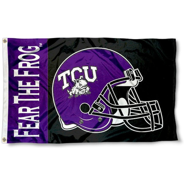 Texas Christian Football Flag measures 3'x5', is made of 100% poly, has quadruple stitched sewing, two metal grommets, and has double sided Texas Christian logos. Our Texas Christian Football Flag is officially licensed by the selected university and the NCAA.