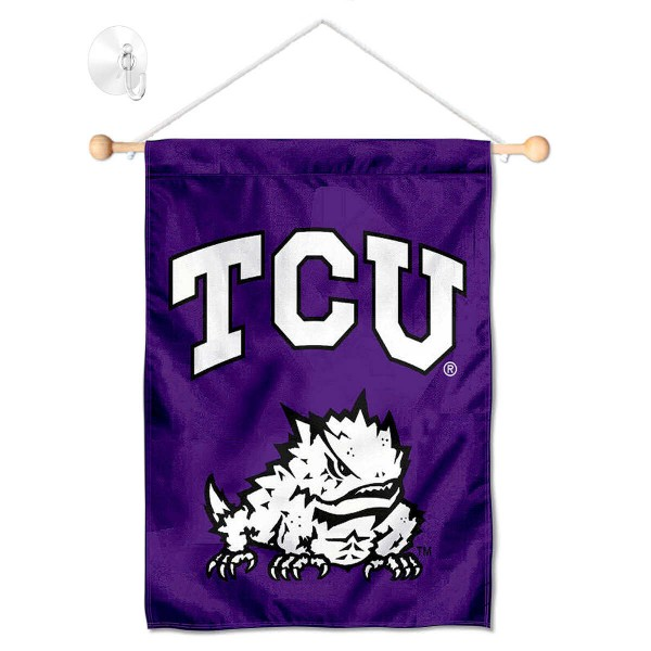 "Texas Christian Horned Frogs Banner with Suction Cup kit includes our 13""x18"" garden banner which is made of 2 ply poly with liner and has screen printed licensed logos. Also, a 17"" wide banner pole with suction cup is included so your Texas Christian Horned Frogs Banner with Suction Cup is ready to be displayed with no tools needed for setup. Fast Overnight Shipping is offered and the flag is Officially Licensed and Approved by the selected team."