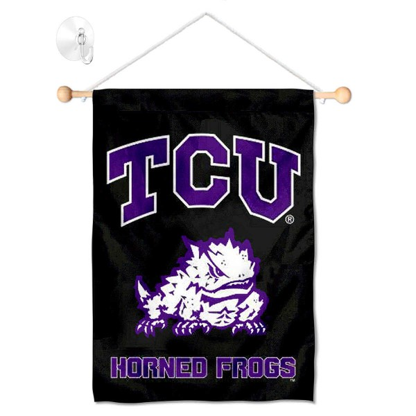 """Texas Christian Horned Frogs Banner with Suction Cup kit includes our 13""""x18"""" garden banner which is made of 2 ply poly with liner and has screen printed licensed logos. Also, a 17"""" wide banner pole with suction cup is included so your Texas Christian Horned Frogs Banner with Suction Cup is ready to be displayed with no tools needed for setup. Fast Overnight Shipping is offered and the flag is Officially Licensed and Approved by the selected team."""