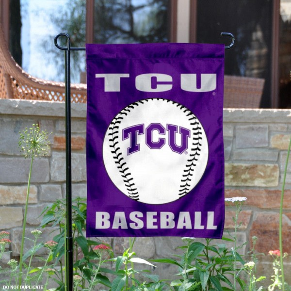 Texas Christian Horned Frogs Baseball Team Garden Flag is 13x18 inches in size, is made of 2-layer polyester, screen printed Texas Christian University Baseball athletic logos and lettering. Available with Express Shipping, Our Texas Christian Horned Frogs Baseball Team Garden Flag is officially licensed and approved by Texas Christian University Baseball and the NCAA.