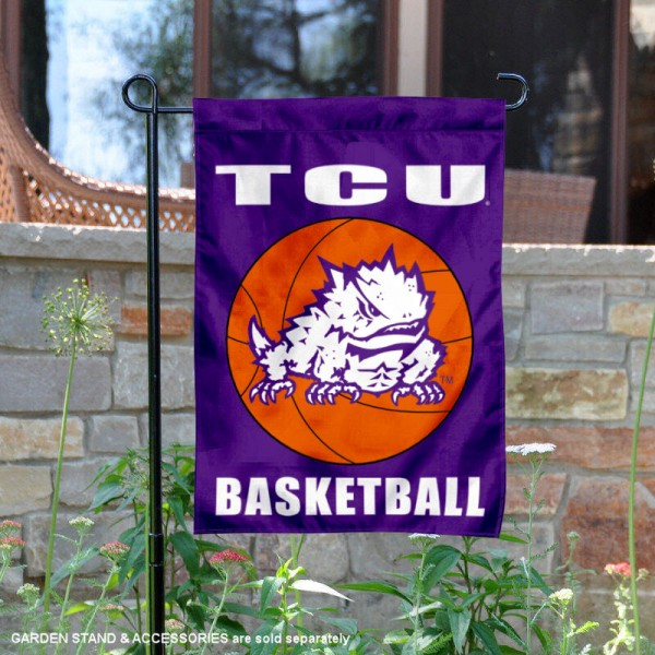 Texas Christian Horned Frogs Basketball Garden Banner is 13x18 inches in size, is made of 2-layer polyester, screen printed athletic logos and lettering. Available with Same Day Express Shipping, Our Texas Christian Horned Frogs Basketball Garden Banner is officially licensed and approved by the school and the NCAA.