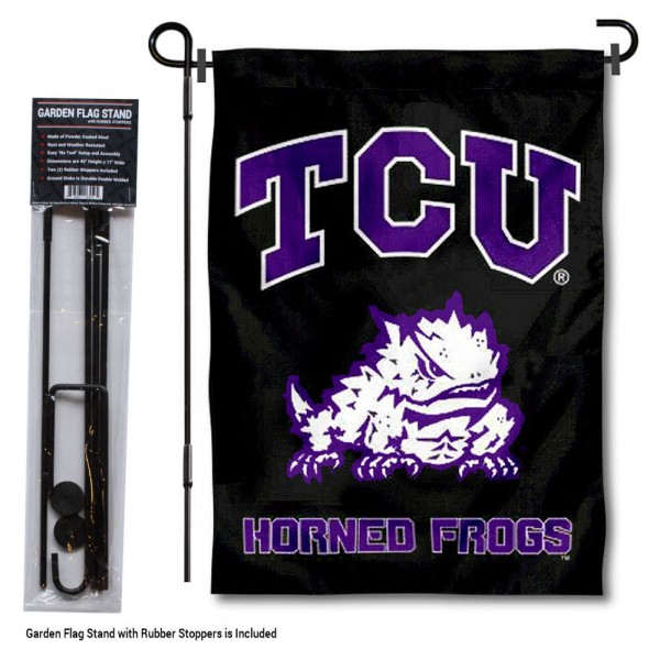 "Texas Christian Horned Frogs Black Garden Flag and Pole Stand kit includes our 13""x18"" garden banner which is made of 2 ply poly with liner and has screen printed licensed logos. Also, a 40""x17"" inch garden flag stand is included so your Texas Christian Horned Frogs Black Garden Flag and Pole Stand is ready to be displayed with no tools needed for setup. Fast Overnight Shipping is offered and the flag is Officially Licensed and Approved by the selected team."
