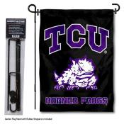 Texas Christian Horned Frogs Black Garden Flag and Pole Stand