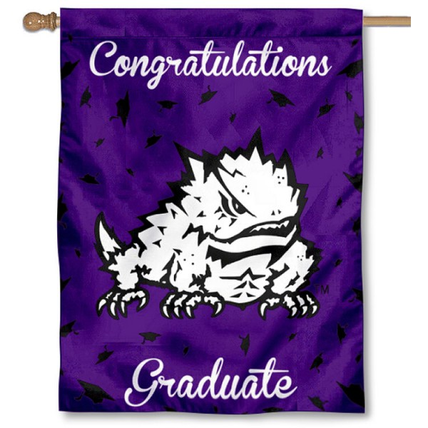 Texas Christian Horned Frogs Congratulations Graduate Flag measures 30x40 inches, is made of poly, has a top hanging sleeve, and offers dye sublimated Texas Christian Horned Frogs logos. This Decorative Texas Christian Horned Frogs Congratulations Graduate House Flag is officially licensed by the NCAA.