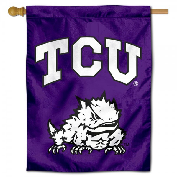 Texas Christian Horned Frogs Double Sided House Flag is a vertical house flag which measures 30x40 inches, is made of 2 ply 100% polyester, offers screen printed NCAA team insignias, and has a top pole sleeve to hang vertically. Our Texas Christian Horned Frogs Double Sided House Flag is officially licensed by the selected university and the NCAA.