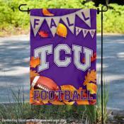 Texas Christian Horned Frogs Fall Football Autumn Leaves Decorative Garden Flag