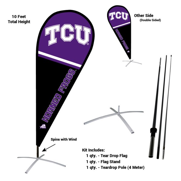 Texas Christian Horned Frogs Feather Flag Kit measures a tall 10' when fully assembled. The kit includes a Feather Flag, 3 Piece Fiberglass Pole, and matching Metal Feather Flag Stand. Our Texas Christian Horned Frogs Feather Flag Kit easily assembles and is NCAA Officially Licensed by the selected school or university.
