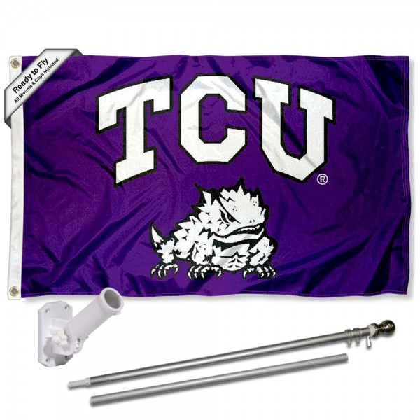 Our Texas Christian Horned Frogs Flag Pole and Bracket Kit includes the flag as shown and the recommended flagpole and flag bracket. The flag is made of polyester, has quad-stitched flyends, and the NCAA Licensed team logos are double sided screen printed. The flagpole and bracket are made of rust proof aluminum and includes all hardware so this kit is ready to install and fly.