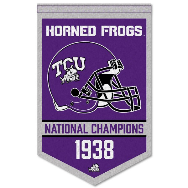 Texas Christian Horned Frogs Football National Champions Banner consists of our sports dynasty year banner which measures 15x24 inches, is constructed of rigid felt, is single sided imprinted, and offers a pennant sleeve for insertion of a pennant stick, if desired. This sports banner is a unique collectible and keepsake of the legacy game and is Officially Licensed and University, School, and College Approved.