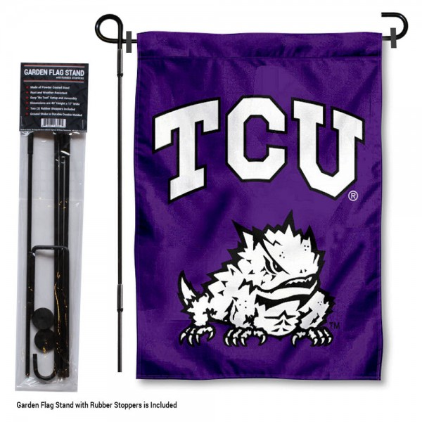 "Texas Christian Horned Frogs Garden Flag and Stand kit includes our 13""x18"" garden banner which is made of 2 ply poly with liner and has screen printed licensed logos. Also, a 40""x17"" inch garden flag stand is included so your Texas Christian Horned Frogs Garden Flag and Stand is ready to be displayed with no tools needed for setup. Fast Overnight Shipping is offered and the flag is Officially Licensed and Approved by the selected team."