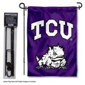 Texas Christian Horned Frogs Garden Flag and Stand