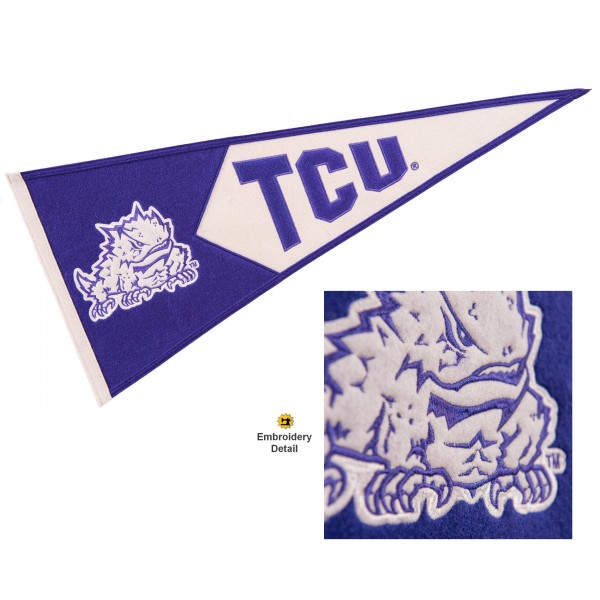 Texas Christian Horned Frogs Genuine Wool Pennant consists of our full size 13x32 inch Winning Streak Sports wool college pennant. The logos, lettering and insignia is quality embroidered and appliqued, feature a alternate logo color header, and has sewn wool perimeter. This Texas Christian Horned Frogs College Pennant Pennant is Officially Licensed and University Approved with Overnight Next Day Shipping.