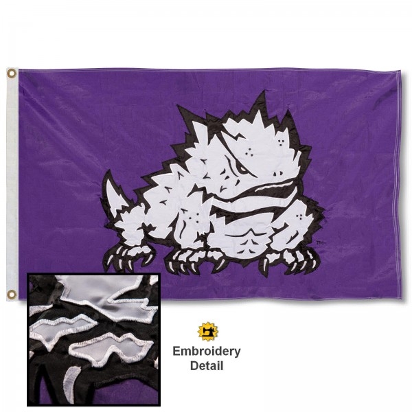 Texas Christian Horned Frogs Nylon Embroidered Flag measures 3'x5', is made of 100% nylon, has quadruple flyends, two metal grommets, and has double sided appliqued and embroidered University logos. These Texas Christian Horned Frogs 3x5 Flags are officially licensed by the selected university and the NCAA.