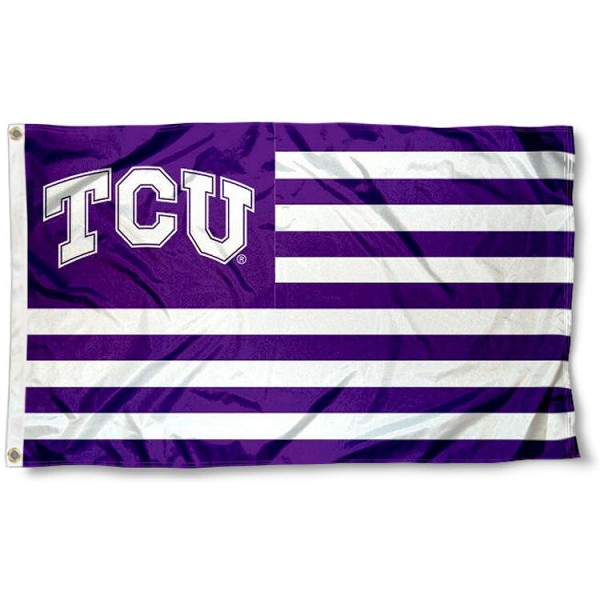 Texas Christian Horned Frogs Striped Flag measures 3'x5', is made of polyester, offers quadruple stitched flyends for durability, has two metal grommets, and is viewable from both sides with a reverse image on the opposite side. Our Texas Christian Horned Frogs Striped Flag is officially licensed by the selected school university and the NCAA