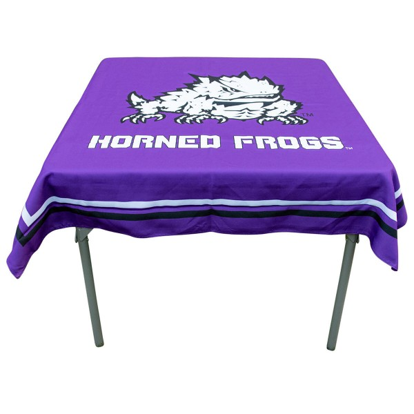 Texas Christian Horned Frogs Table Cloth measures 48 x 48 inches, is made of 100% Polyester, seamless one-piece construction, and is perfect for any tailgating table, card table, or wedding table overlay. Each includes Officially Licensed Logos and Insignias.
