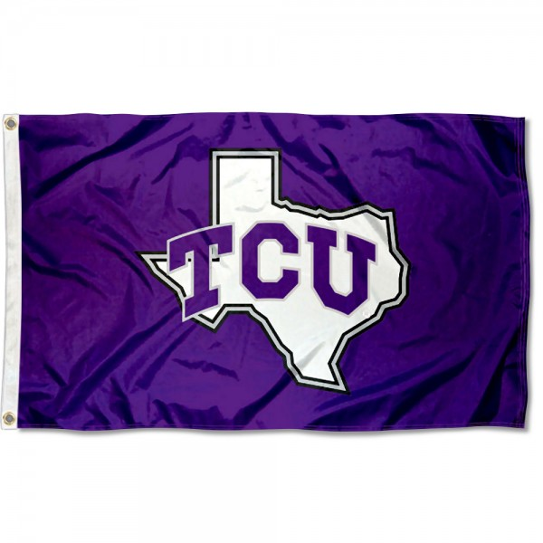 Texas Christian Horned Frogs TX State Flag measures 3x5 feet, is made of 100% polyester, offers quadruple stitched flyends, has two metal grommets, and offers screen printed NCAA team logos and insignias. Our Texas Christian Horned Frogs TX State Flag is officially licensed by the selected university and NCAA.
