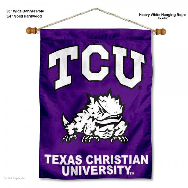 "Texas Christian Horned Frogs Wall Banner is constructed of polyester material, measures a large 30""x40"", offers screen printed athletic logos, and includes a sturdy 3/4"" diameter and 36"" wide banner pole and hanging cord. Our Texas Christian Horned Frogs Wall Banner is Officially Licensed by the selected college and NCAA."