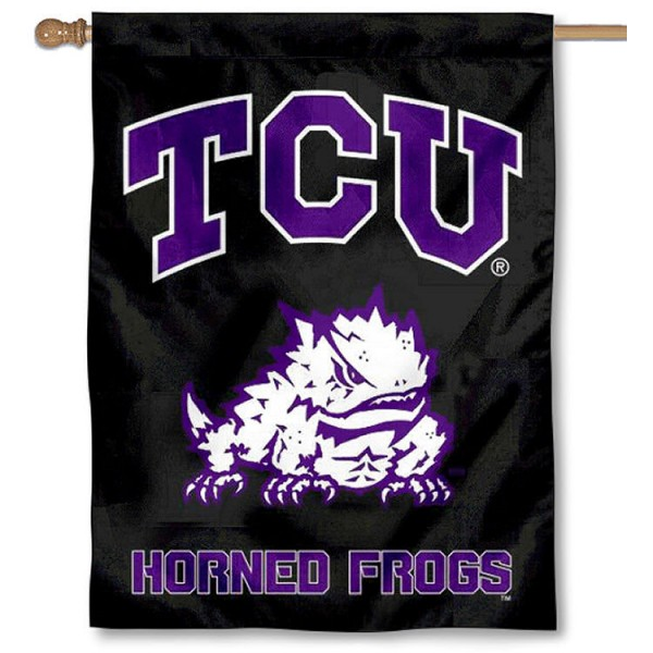 Texas Christian TCU Black Banner Flag is a vertical house flag which measures 30x40 inches, is made of 2 ply 100% polyester, offers dye sublimated NCAA team insignias, and has a top pole sleeve to hang vertically. Our Texas Christian TCU Black Banner Flag is officially licensed by the selected university and the NCAA.