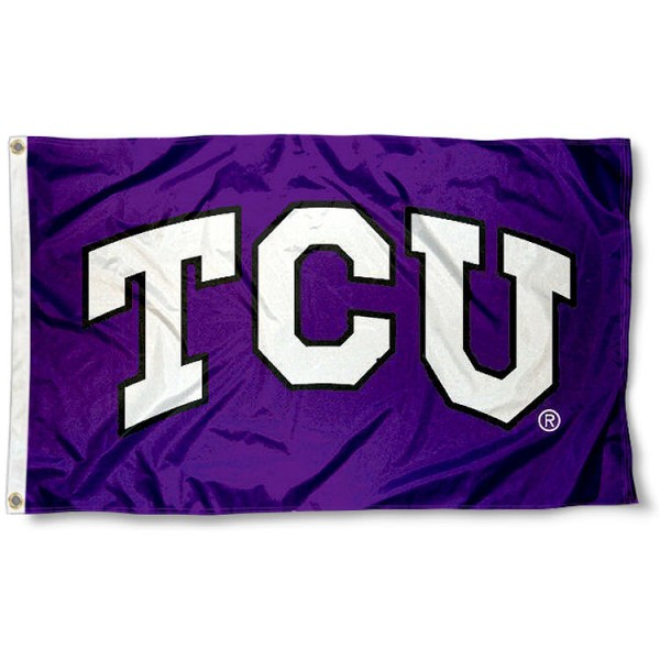 Texas Christian TCU Flag measures 3'x5', is made of 100% poly, has quadruple stitched sewing, two metal grommets, and has double sided Texas Christian University logos. Our Texas Christian TCU Flag is officially licensed by the selected university and the NCAA.