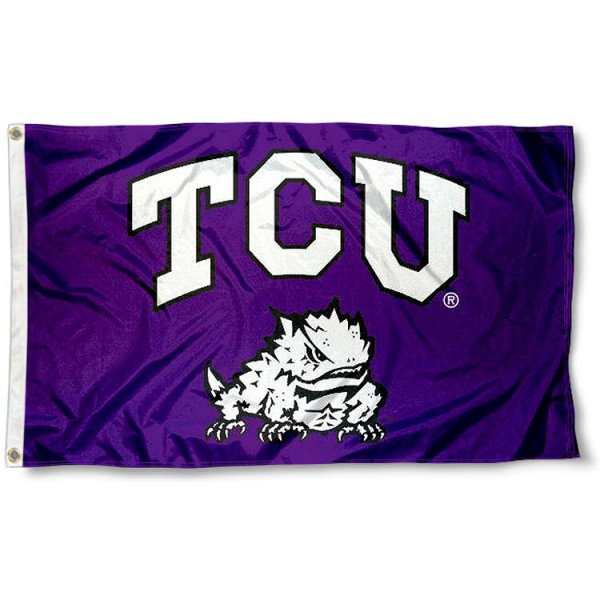 Texas Christian University 3x5 Flag measures 3'x5', is made of 100% poly, has quadruple stitched sewing, two metal grommets, and has double sided Texas Christian University logos. Our Texas Christian University 3x5 Flag is officially licensed by the selected university and the NCAA