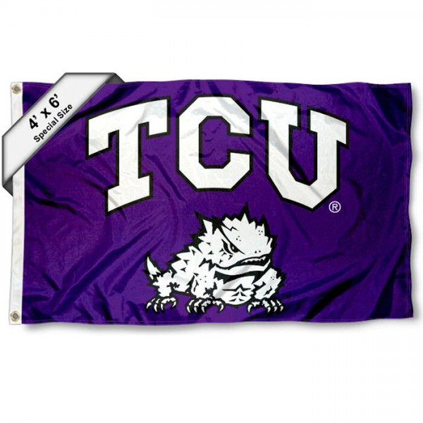 Texas Christian University 4x6 Flag measures 4x6 feet, is made of thick woven polyester, has quadruple stitched flyends, two metal grommets, and offers screen printed NCAA Texas Christian University athletic logos and insignias. Our Texas Christian University 4x6 Flag is officially licensed by Texas Christian University and the NCAA.