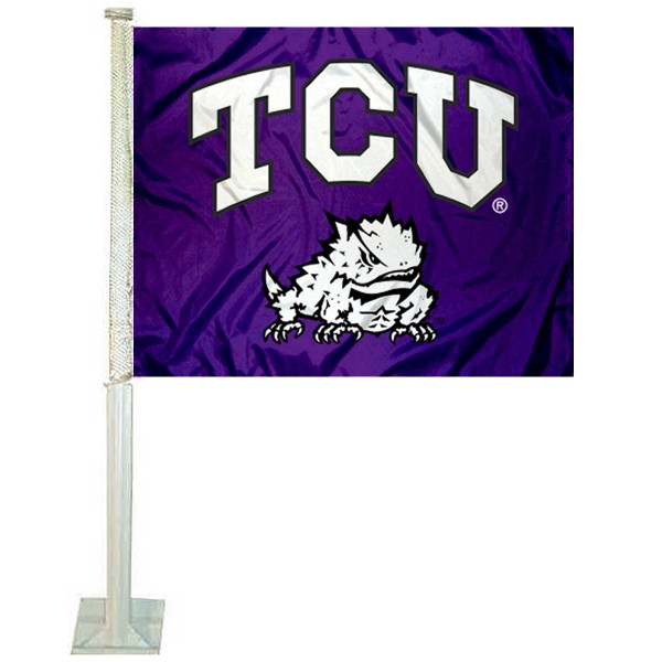 Texas Christian University Car Flag measures 12x15 inches, is constructed of sturdy 2 ply polyester, and has dye sublimated school logos which are readable and viewable correctly on both sides. Texas Christian University Car Flag is officially licensed by the NCAA and selected university