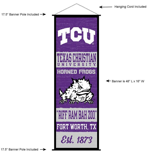 "This ""ready to hang"" Texas Christian University Decor and Banner is made of polyester material, measures a large 17.5"" x 48"", offers screen printed athletic logos, and includes both top and bottom 3/4"" diameter plastic banner poles and hanging cord. Our Texas Christian University D�cor and Banner is Officially Licensed by the selected college and NCAA."