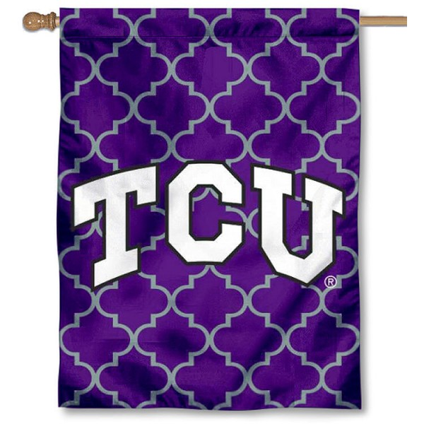 Texas Christian University Decorative Banner Flag is a vertical house flag which measures 30x40 inches, is made of 2 ply 100% polyester, offers dye sublimated NCAA team insignias, and has a top pole sleeve to hang vertically. Our Texas Christian University Decorative Banner Flag is officially licensed by the selected university and the NCAA.
