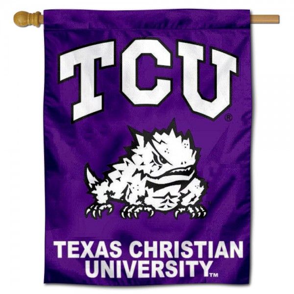 "Texas Christian University Decorative Flag is constructed of polyester material, is a vertical house flag, measures 30""x40"", offers screen printed athletic insignias, and has a top pole sleeve to hang vertically. Our Texas Christian University Decorative Flag is Officially Licensed by Texas Christian University and NCAA."