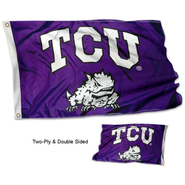 Texas Christian University Flag measures 3'x5', is made of 2 layer 100% polyester, has quadruple stitched flyends for durability, and is readable correctly on both sides. Our Texas Christian University Flag is officially licensed by the university, school, and the NCAA