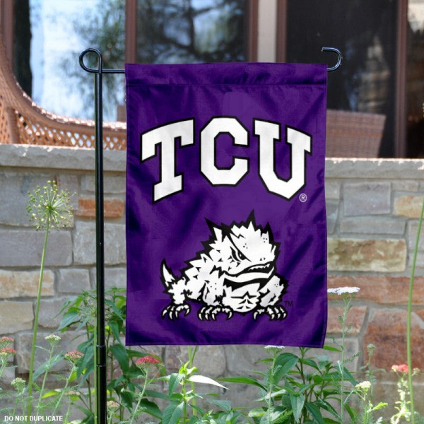 Texas Christian University Garden Flag is 13x18 inches in size, is made of 2-layer polyester, screen printed Texas Christian University athletic logos and lettering. Available with Same Day Express Shipping, Our Texas Christian University Garden Flag is officially licensed and approved by Texas Christian University and the NCAA.