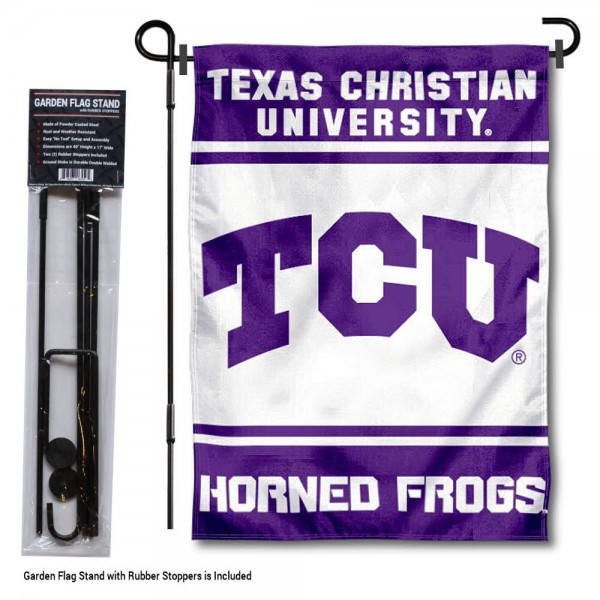 "Texas Christian University Garden Flag and Stand kit includes our 13""x18"" garden banner which is made of 2 ply poly with liner and has screen printed licensed logos. Also, a 40""x17"" inch garden flag stand is included so your Texas Christian University Garden Flag and Stand is ready to be displayed with no tools needed for setup. Fast Overnight Shipping is offered and the flag is Officially Licensed and Approved by the selected team."